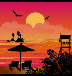 beautiful sunset sea scenery with chairs and vector image