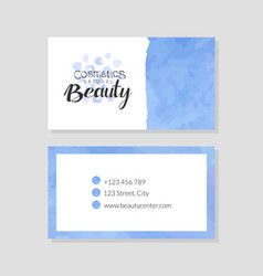 beauty natural cosmetics business card template vector image