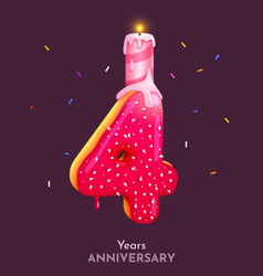 birthday cake font number 4 with candle four year vector image