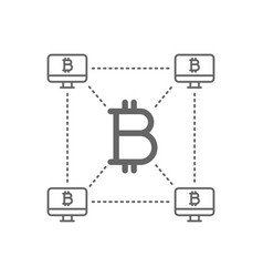 Bitcoin with decentralized blockchain line icon vector