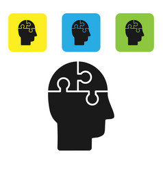 Black human head puzzles strategy icon isolated on vector