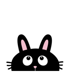 black rabbit bunny face head silhouette with long vector image