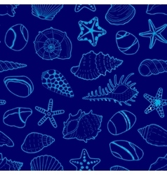 Blue pattern of sea shells stars stones vector