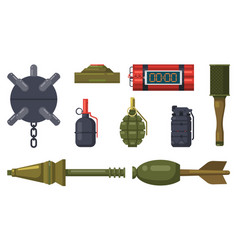bombs weapon military grenades and dynamite vector image