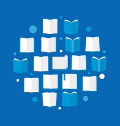 books blue flat book reading vector image