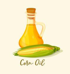 Bottle with corn oil near corncob or maize vector