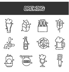 Brewing cartoon icons set vector