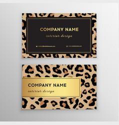 Business card trendy leopard pattern wild animals vector