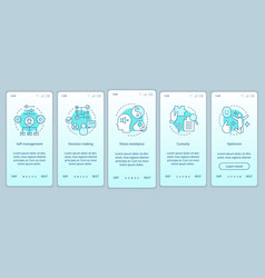 Business skills onboarding mobile app page screen vector