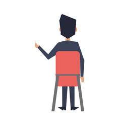 Businessman seated on chiar backward vector