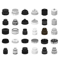 cake and dessert blackmonochrome icons in set vector image