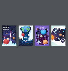 cartoon space flyer universe galaxy banner planet vector image