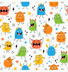 child seamless pattern with cute little monsters vector image