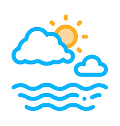 cloudy weather on sea icon outline vector image