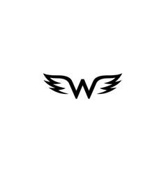 creative black wings w letter alphabet logo vector image