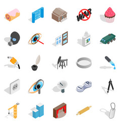 Creature icons set isometric style vector
