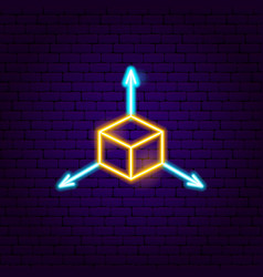 Cube neon sign vector