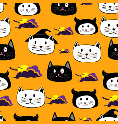 Cute face cat hand drawn cartoon halloween theme vector