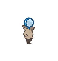 Detective magnifying man symbol logo vector