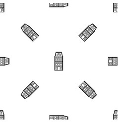 dutch houses pattern seamless black vector image