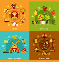 Farming square compositions set vector