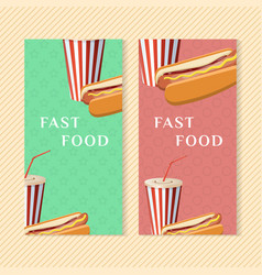 fast food banners with hot dog and soda cup vector image