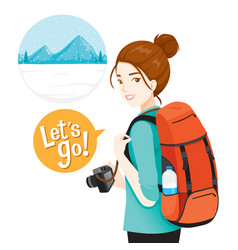 female backpacker traveller with baggage vector image