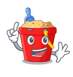Finger beach bucket in string shape mascot vector