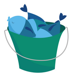 Fish in bucket on white background vector