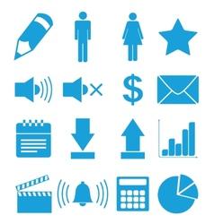 Flat blue icons set vector image