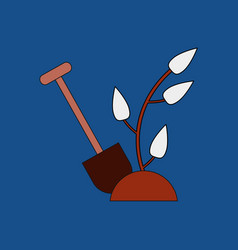 Flat icon design collection shovel and plant vector