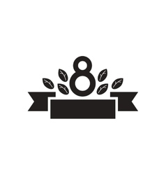 Flat icon in black and white eight ribbon flowers vector