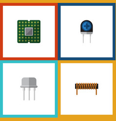 flat icon technology set of resist transducer vector image