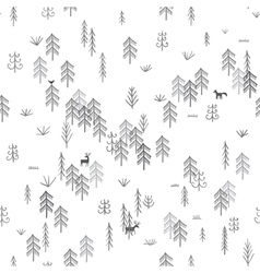 forest life seamless pattern fir trees vector image
