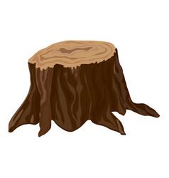 Garden tree stump icon cartoon style vector