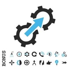 Gear Integration Flat Icon With Bonus vector