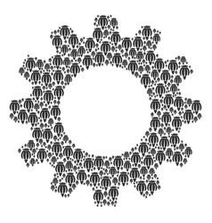 Gearwheel mosaic of opium poppy icons vector