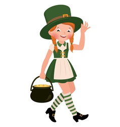 Girl dressed as Saint Patrick Day vector