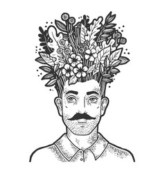 Grass and leaves on head sketch engraving vector