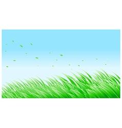 Green grass against blue sky vector