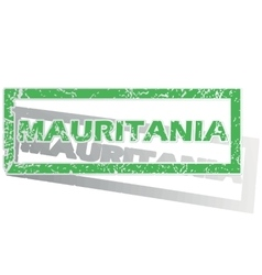 Green outlined Mauritania stamp vector