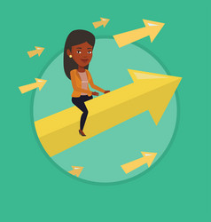 happy business woman flying to success vector image