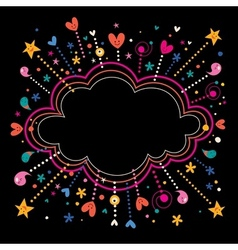 happy fun star bursts cartoon cloud shape banner vector image