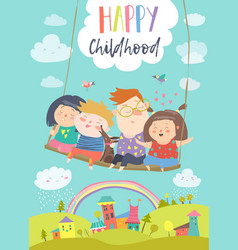 Happy kids flying on a swing vector