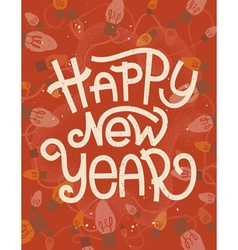 Happy New Year lettering Retro greeting card vector