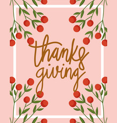 happy thanksgiving day lettering hand drawn vector image