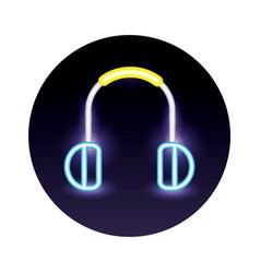 Headphones audio neon light style icon vector