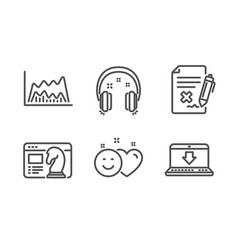 Headphones trade chart and reject file icons set vector