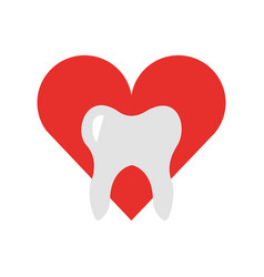 Heart with human tooth isolated icon vector