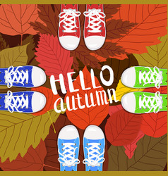 hello autumn color persons feet vector image